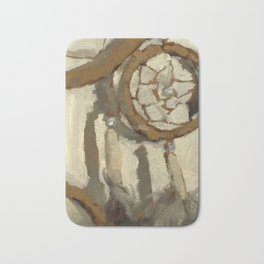Still Life Impressionist Oil Painting of Native American Dreamcatcher in Brown, White and Grey Bath Mat