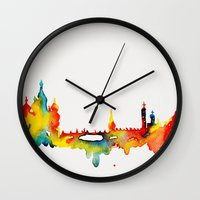 moscow Wall Clocks featuring Moscow by Talula Christian