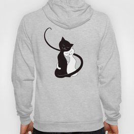White And Black Cats In Love (red) Hoody