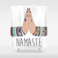 namaste Shower Curtains featuring Namaste by Serra Kiziltas