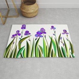 Large Purple Irises Rug