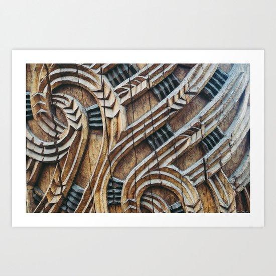 A Maori Carving Art Print