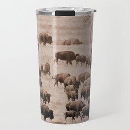 Buffalo Herd in Sepia Travel Mug