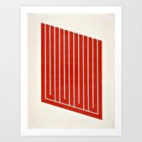 Orange Geometric Mod Art Art Print