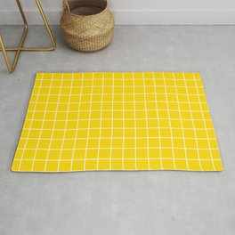 School bus yellow - yellow color -  White Lines Grid Pattern Rug