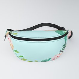 Summer Roses Light Cyan Floral Wreath Opal Pale Turquoise Fanny Pack