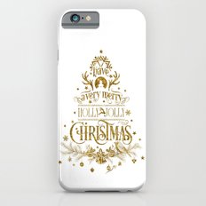 Holly Jolly Christmas- Gold Glitter Typography iPhone 6s Slim Case