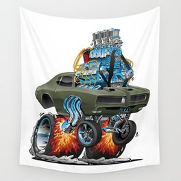 Classic American Muscle Car Hot Rod Cartoon Vector Illustration Wall Tapestry