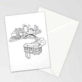Pittsburgh Steel City Skyline Incline Pennsylvania Geometric Line Drawing Print Stationery Cards