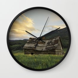 Sunset Over An Abandoned Cabin Wall Clock