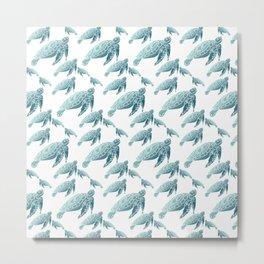 Cute Turtle Tortoise Pattern Metal Print