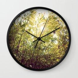 Bamboo in Blue & Green  Wall Clock