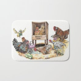 """Life in the Coop"" funny chicken watercolor Bath Mat"