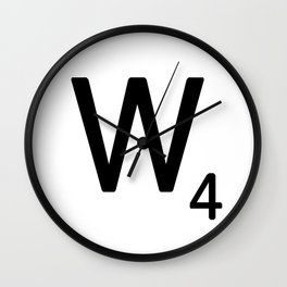 Letter W - Custom Scrabble Letter Tile Art - Scrabble W Initial Wall Clock