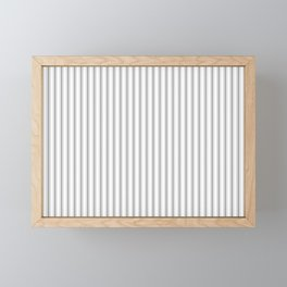 Mattress Ticking Narrow Striped Pattern in Charcoal Grey and White Framed Mini Art Print