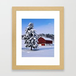 Peace Barn Winter Framed Art Print