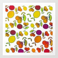 fruits Art Prints featuring Fruits by VessDSign
