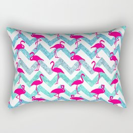 Go Flamingo! Tropical Pink Neon Flamingos Teal Glitter Chevron Rectangular Pillow