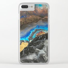 Storm Brewing - Fluid art on canvas Clear iPhone Case