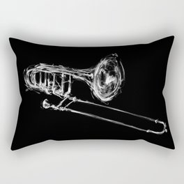 Black Trombone Rectangular Pillow