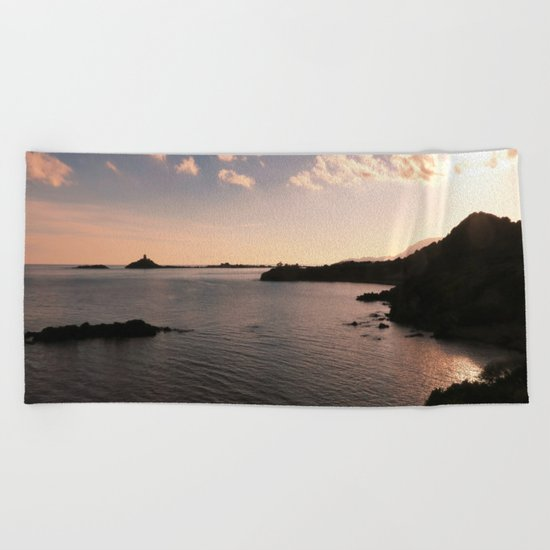 sunset in Sardinia Beach Towel