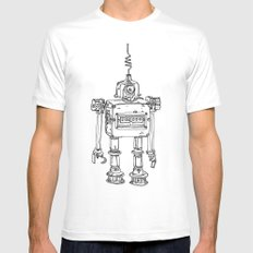 Yellow Robot Mens Fitted Tee MEDIUM White