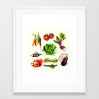 vegetables Framed Art Prints featuring vegetables by Zazie-bulles