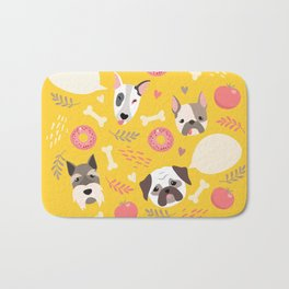 Cute dog illustration color card with cloud place for your text Bath Mat