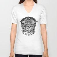 treat yo self V-neck T-shirts featuring TREAT YO SELF by Josh LaFayette