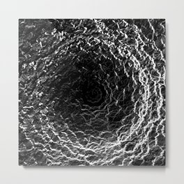 Black and White Waves Metal Print