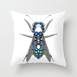 Black And Blue Patten Wasp Throw Pillow