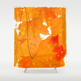 Fall Orange Maple Leaves On A White Background #decor #buyart #society6 Shower Curtain