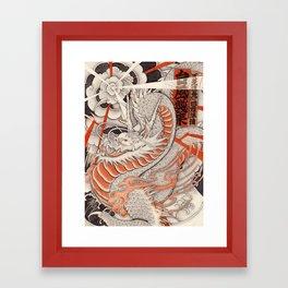 Japanese tattoo Typhoon dragon Framed Art Print