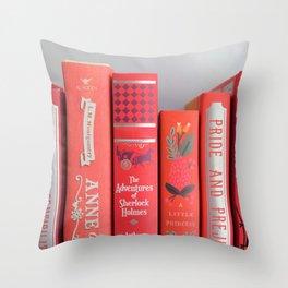 Shelfie in red Throw Pillow