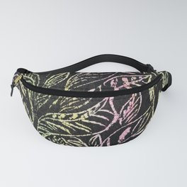 green and pink plant pattern Fanny Pack