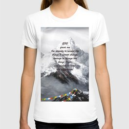 Serenity Prayer With Panoramic View Of Everest Mountain T-shirt