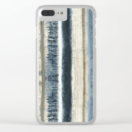 Distressed Blue and White Watercolor Stripe Clear iPhone Case
