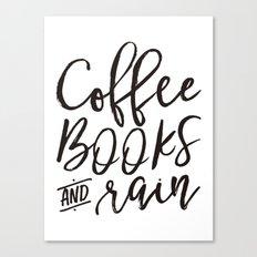 Coffee Books And Rain Art Print Canvas Print