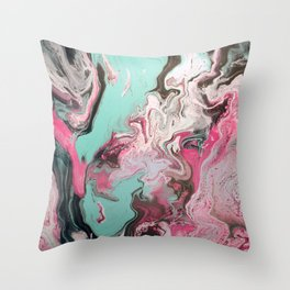Fluid Art Acrylic Painting, Pour 1 - Pink, Black, White, Turquoise Throw Pillow