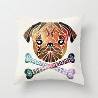 pug Throw Pillows featuring pug by Manoou