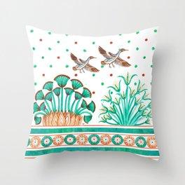 Lotus and Papyrus Throw Pillow