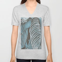Sea-blue Leaves Unisex V-Neck