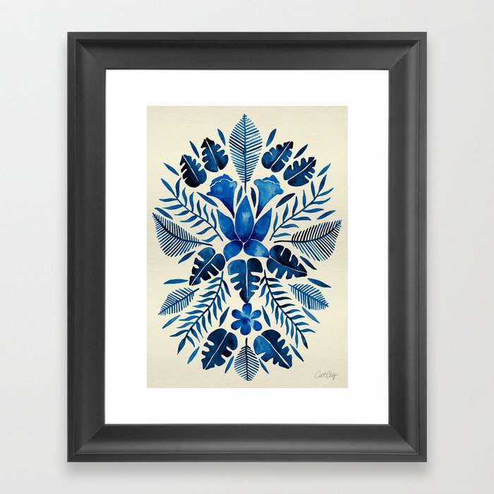 Tropical Symmetry – Navy Framed Art Print