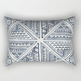 Simply Tribal Tile in Indigo Blue on Lunar Gray Rectangular Pillow