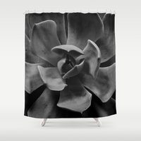 succulent Shower Curtains featuring succulent by Bonnie Jakobsen-Martin