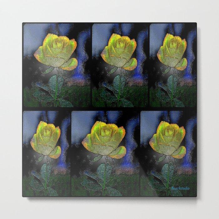 Black Plastic Rose Metal Print