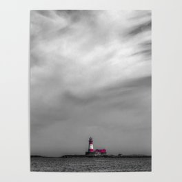 Red lighthouse on a cloudy day Poster