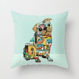 Cute Pug Collage  Throw Pillow