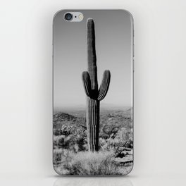 Black and white desert cactus photography poster iPhone Skin
