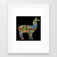 lama Framed Art Prints featuring Lama by Julie Luke